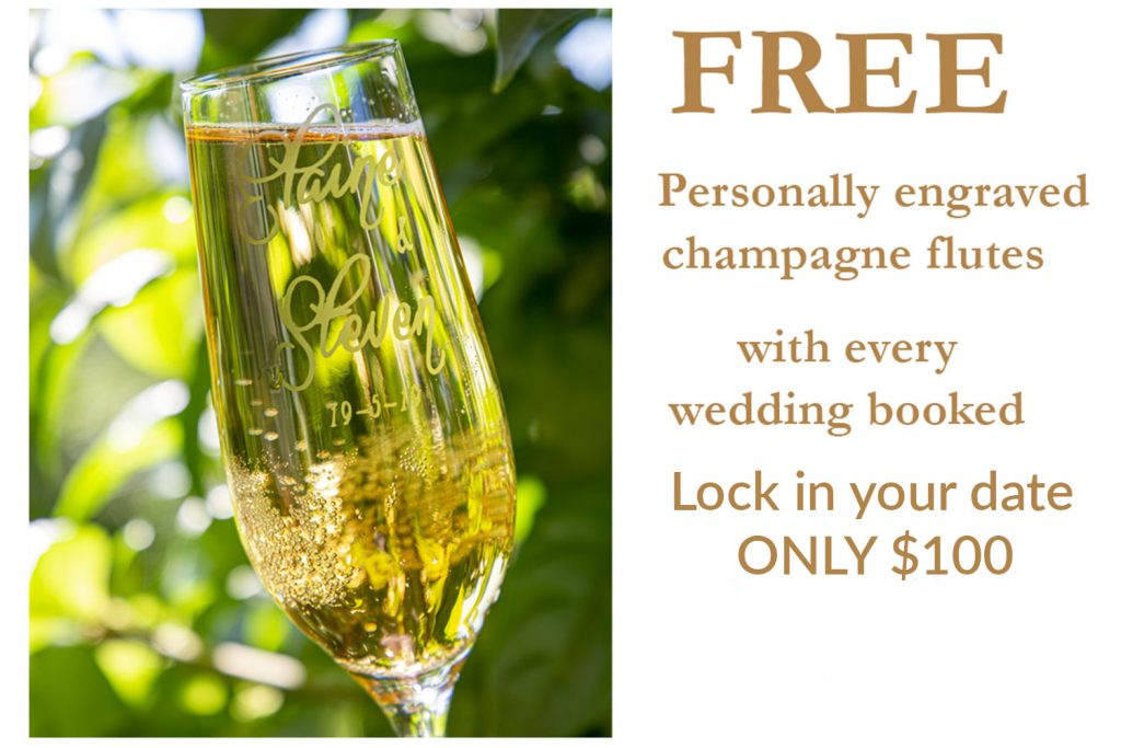 FREE wedding flutes and $100 booking fee